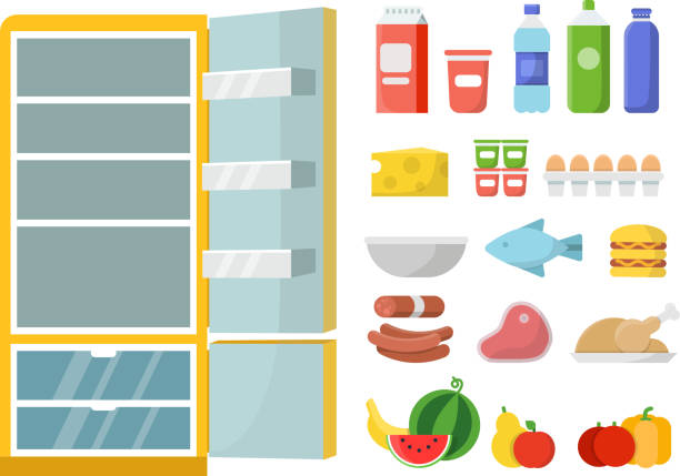 Empty refrigerator and different food. Vector flat illustrations Empty refrigerator and different food. Vector flat illustrations. Refrigerator and food fresh, milk bottle and meat, vegetable and fruit refrigerator stock illustrations