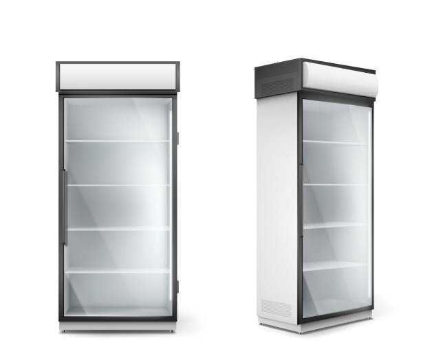 Empty refrigerator with transparent glass door Empty refrigerator with transparent glass door. Vector fridge for display fresh food and drink in supermarket. Modern cooler with shelves and handle front and corner view refrigerator stock illustrations