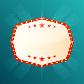 Empty retro banner with space for text. Retro light frame with glowing lamps. Vintage casino, cinema, show, theatre, signboard. Vector