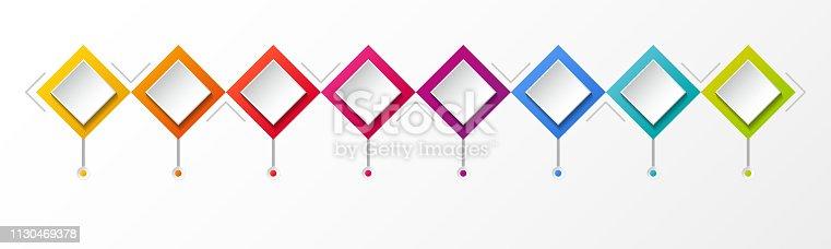 Empty rhombus infographic template. Vector.