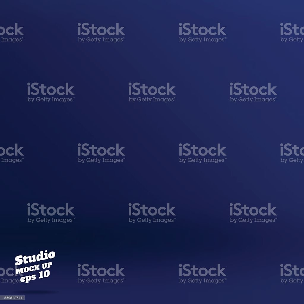 Empty rich color style of dark navy blue studio room vector art illustration