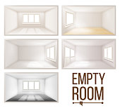 Empty, Room, Vector., Wall., Sunlight, Falling, Down., House, Interior, Background., Comfortable, Construction., 3d, Realistic, Illustration
