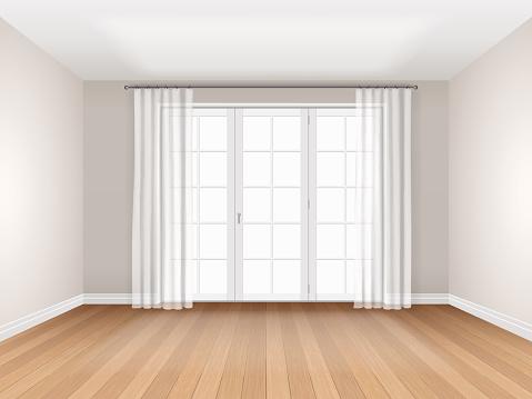 Pusty Pokój Z Dużym Oknem - Stockowe grafiki wektorowe i więcej obrazów Architektura