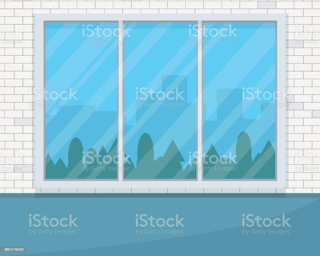 Empty room with big window. empty room with big window – cliparts vectoriels et plus d'images de admirer le paysage libre de droits