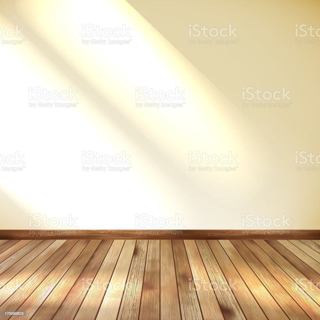 Empty room with wall and wooden floor. EPS 10 vector art illustration