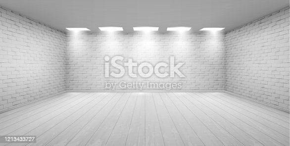 istock Empty room with white brick walls in studio 1213433727