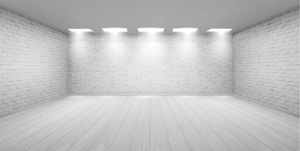 Empty room with white brick walls in studio Empty room with white brick walls, wooden floor and ceiling lamps. Vector realistic 3d interior of studio, modern museum or gallery hall. Template showroom for exhibition in loft style no people stock illustrations
