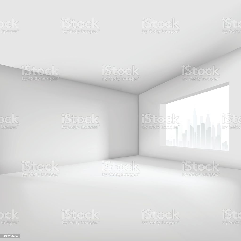 Empty room with window vector art illustration