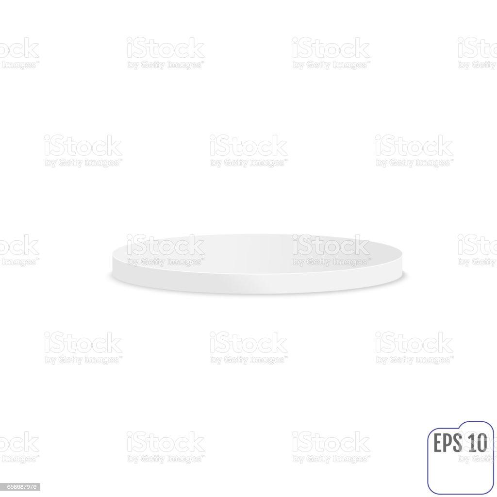 Empty round pedestal for display.  White round stage podium, pedestal. Vector illustration. vector art illustration