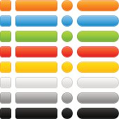 Empty colored web internet button. Softness square, rectangle, circle and rounded rectangle icon shape in white background. Gray, black, orange, blue, brown, green, yellow colors.