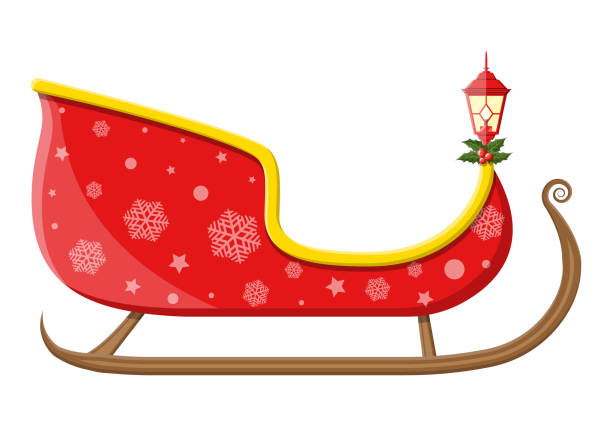 Empty santa sleigh with snowflakes, holly and lamp Empty santa sleigh with snowflakes, holly and lamp. Happy new year decoration. Merry christmas holiday. New year and xmas celebration. Vector illustration in flat style sled stock illustrations