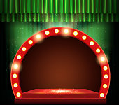 Empty scene with green curtain and red retro banner. Design for presentation, concert, show. Vector illustration