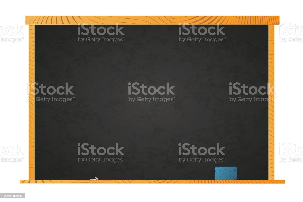 Empty school blackboard in wooden frame with chalk and sponge on shelf isolated on white vector art illustration