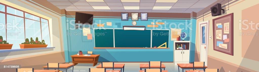 Bannière horizontale de vide école classe pièce intérieur Conseil Bureau - Illustration vectorielle