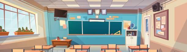 空の学校クラス ルーム内装ボード デスク水平バナー - 教室点のイラスト素材/クリップアート素材/マンガ素材/アイコン素材