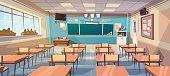 Empty School Class Room Interior Board Desk