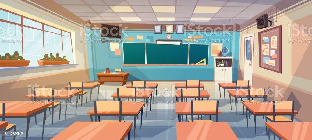 Vide école classe salle intérieure Conseil Bureau - Illustration vectorielle