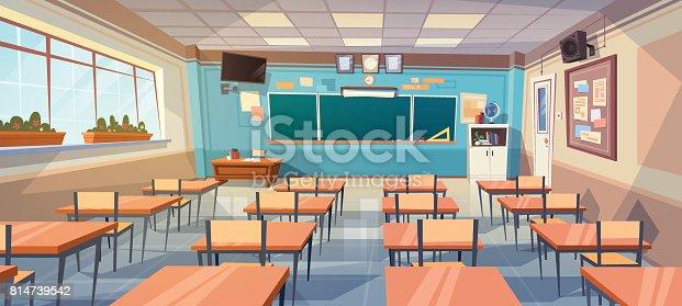 English Classroom Decor Ideas ~ Empty school class room interior board desk stock vector