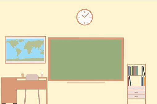 Empty School Classroom With Chalkboard, Teacher's Desk, Bookshelf And World Map