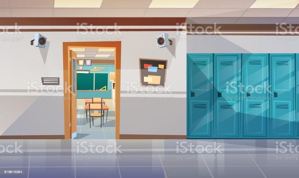 ロッカー ホール教室ドアが開いていると空の学校の廊下 ベクターアートイラスト
