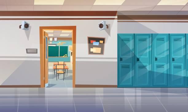 bildbanksillustrationer, clip art samt tecknat material och ikoner med tomma skolan korridor med skåp hall öppna dörren till klassrummet - klassrum