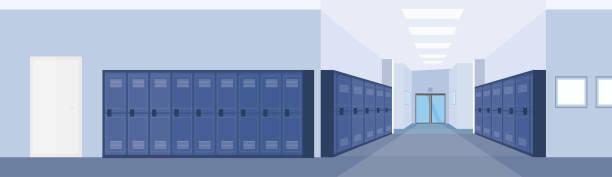 illustrations, cliparts, dessins animés et icônes de vide école hall couloir intérieur avec rangée de casiers bleus horizontal bannière plat - entrée