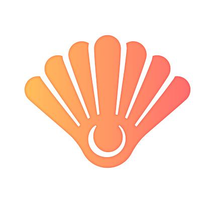 Empty Seashell Gradient Color & Papercut Style Icon Design