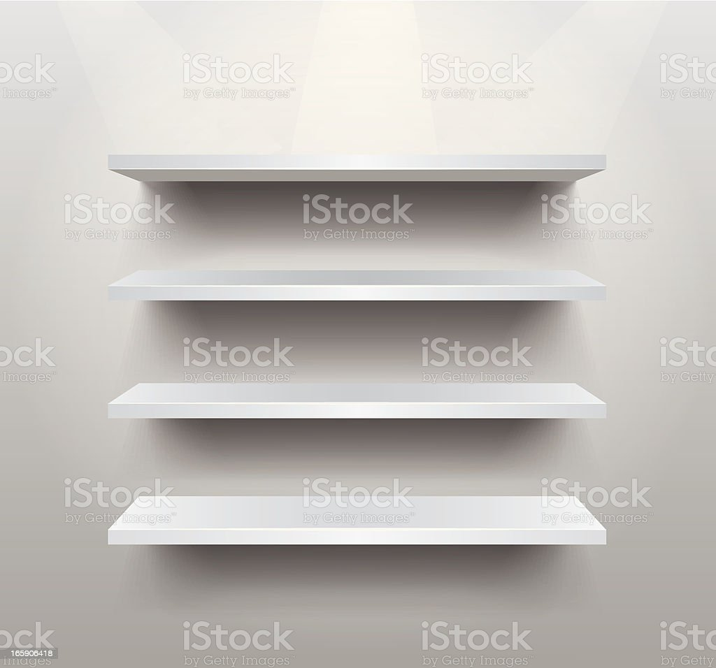 Empty shelf vector art illustration