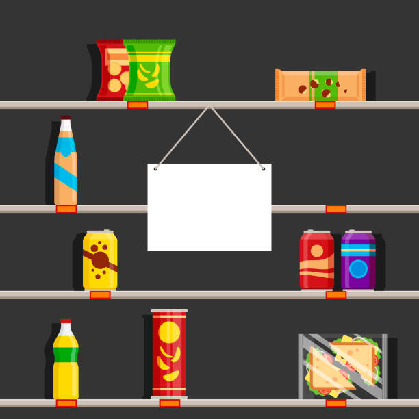 Empty shelves in supermarket during the Coronavirus pandemic of 2020. Store sign with place for text, vector illustration Empty shelves in supermarket during the Coronavirus pandemic of 2020. Store sign with place for text, vector illustration. snack aisle stock illustrations