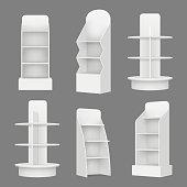 Empty shelving stands. Merchandising market retail display racks in supermarket vector realistic illustration. Shelf blank for shop retail, supermarket stand
