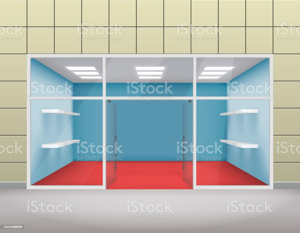 empty shop front boutique window and open door 3d template 3dの