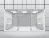Empty shop front boutique window and open door 3d template