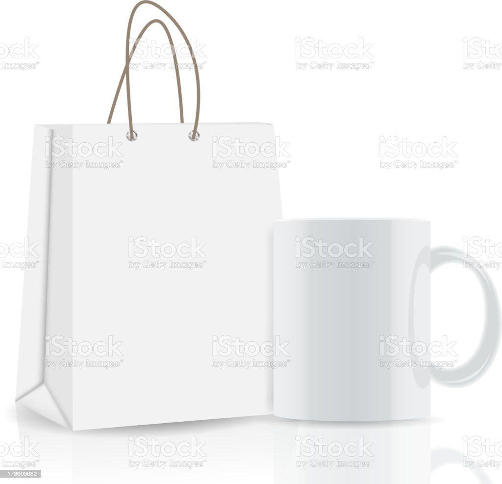 Empty Shopping Bag, cup for advertising and branding vector illustration royalty-free stock vector art