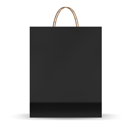 Empty Shopping Bag Shopping goods and products transportation shoppings from shop or grocery. Realistic mockup of craft paper bags.