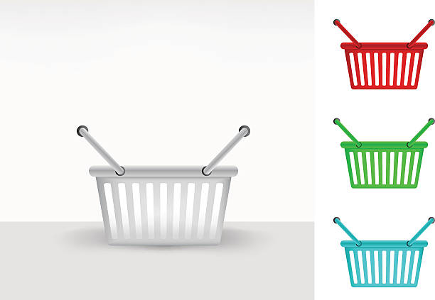 empty shopping basket colorful collection concept vector - metallwarenkorb stock-grafiken, -clipart, -cartoons und -symbole