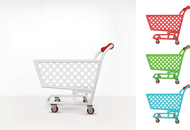 empty shopping cart colorful collection concept vector - metallwarenkorb stock-grafiken, -clipart, -cartoons und -symbole