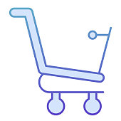 Empty shopping cart flat icon. Shopping trolley vector illustration isolated on white. Empty market cart gradient style design, designed for web and app. Eps10