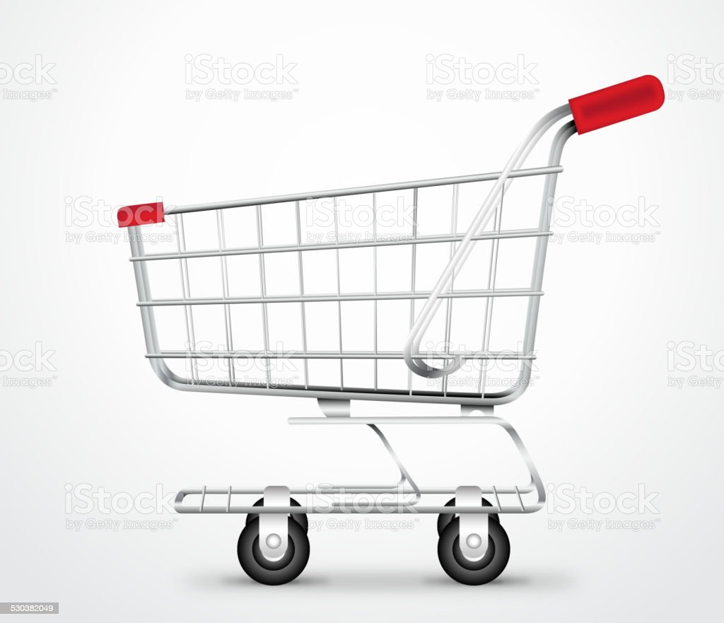 Empty Shopping Cart Trolley Vector in isolated White Background vector art illustration