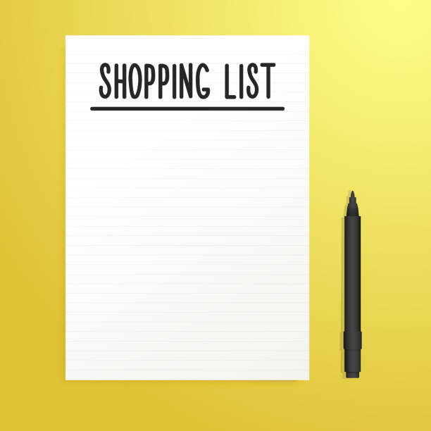 Empty Shopping List page with black pen and yellow Background. Vector illustration template with copy space vector eps10 shopping list stock illustrations