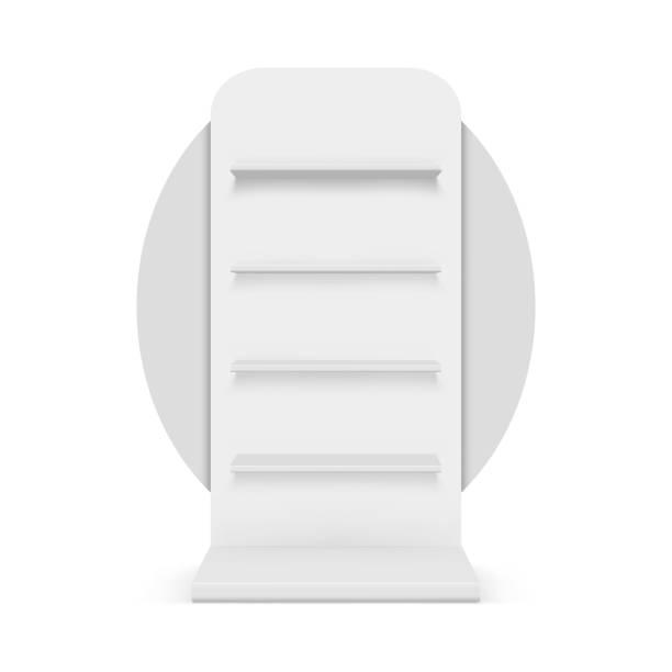leere schaufenster. abbildung isoliert auf weißem hintergrund - kastenständer stock-grafiken, -clipart, -cartoons und -symbole