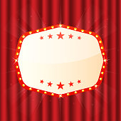Empty sign on red curtain. Cinema, theatre, casino signboard. Retro light frame with glowing lamps