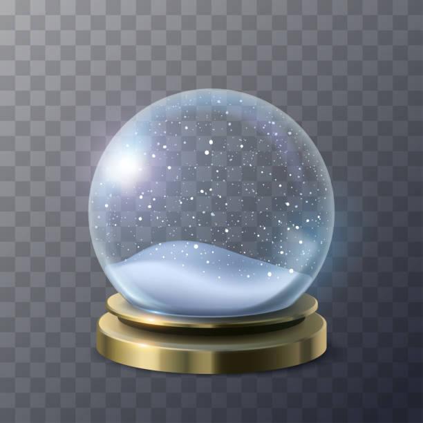 Empty snow globe Empty snow globe in vector christmas clipart stock illustrations