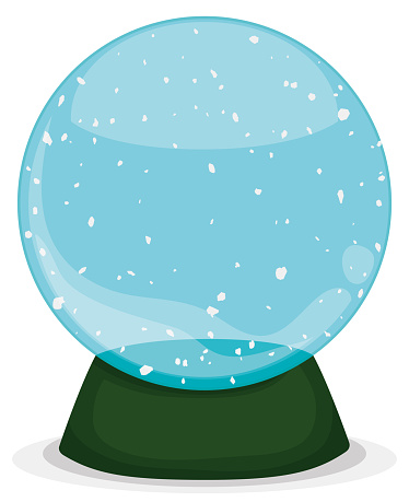 Empty Snow Globe with Green Base Isolated over White Background