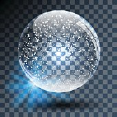 .Empty Snowy Glass Ball on Transparent Background. Vector Illustration.