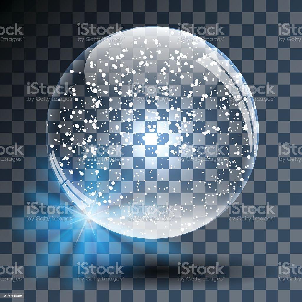 Empty Snowy Glass Ball - ilustração de arte em vetor