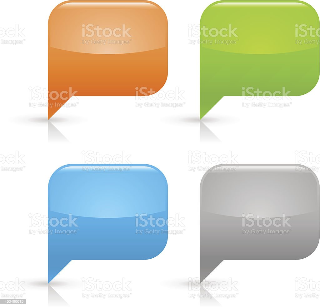 Empty speech bubble icon rounded square blank glossy button royalty-free stock vector art