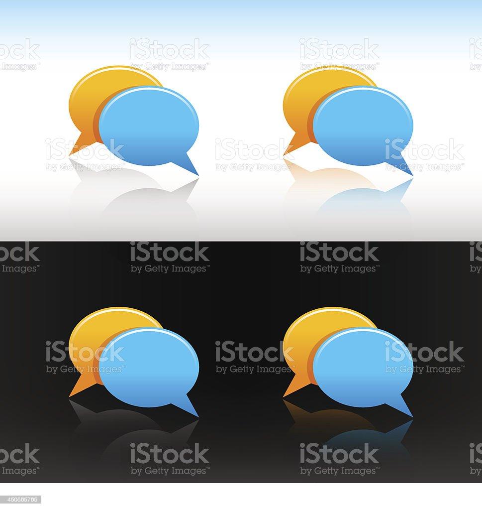 Empty speech bubble icon set blank circle web internet button vector art illustration