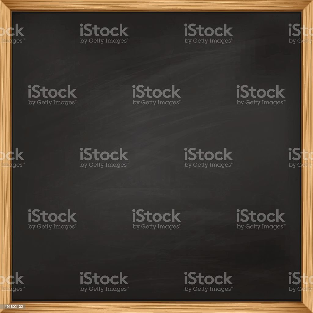 Empty square blackboard with wooden frame. Template vector art illustration