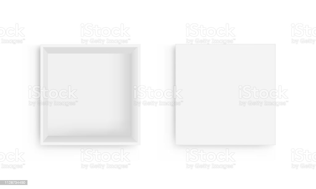 Empty square box with open lid isolated on white background view from above royalty-free empty square box with open lid isolated on white background view from above stock illustration - download image now