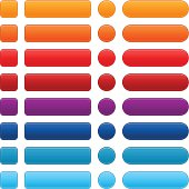 Blank colored satin web internet button. Square, rectangle, circle and rounded rectangle icon shape. Orange, red, violet (purple), cobalt, blue, turquoise colors.